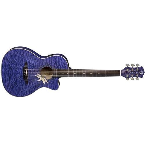(Luna Guitars Flora Passion Flower Quilt Maple Parlor Acoustic-Electric Guitar Transparent)