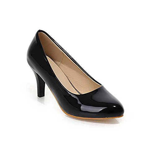 VogueZone009 Women's Pointed Closed Toe Kitten-Heels Patent Leather Pull-on Pumps-Shoes, Black, 44 by VogueZone009