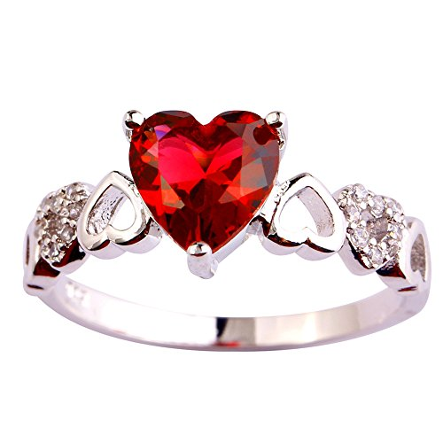 Psiroy 925 Sterling Silver Exquisite Heart Cut Pink Tourmaline Promise Filled Ring (Nerdy Girl Costume Ideas)