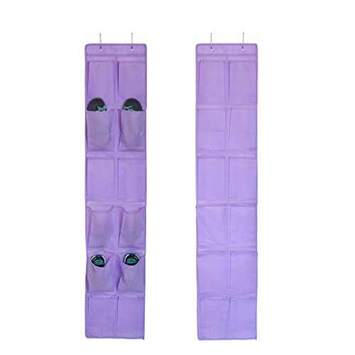 HanLingGG 2 Pack 12 Large Pockets Over the Door Shoe Organizer Hanging Shoe Holder with Metal Hooks for Closet Narrow Door-Purple by HanLingGG