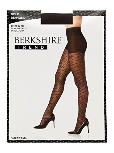 Berkshire Women's Bold Diamond Control Top Pantyhose, black, 3-4 ()