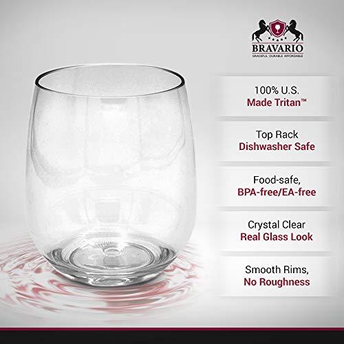 cc026176950 Bravario Unbreakable Stemless Wine Glasses Set of 4 Shatterproof  Non-Breakable No Stem Tritan Plastic Outdoor Drinkware Tumbler Cups  Dishwasher-Safe ...