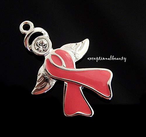 Silver Angel Breast Cancer Ribbon Charm Pendant Swarovski Crystal Rhinestone (Cancer Breast Crystal Swarovski)
