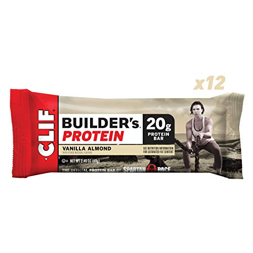 CLIF BUILDER'S – Protein Bar – Vanilla Almond Flavor – (2.4 Ounce Non-GMO Bar, 12 Count)