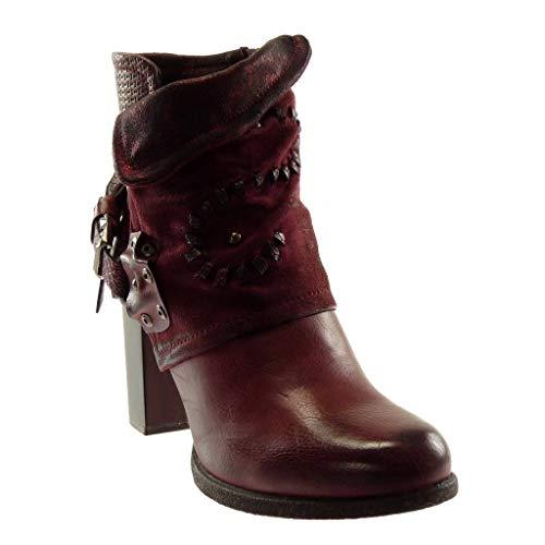 Classic Heel Schuhe Material bi Blockabsatz high Damen Nieten Angkorly Burgunderrot Tanga Schlangenhaut 5 cm Besetzt Stiefeletten Biker String 7 RqwHYX65
