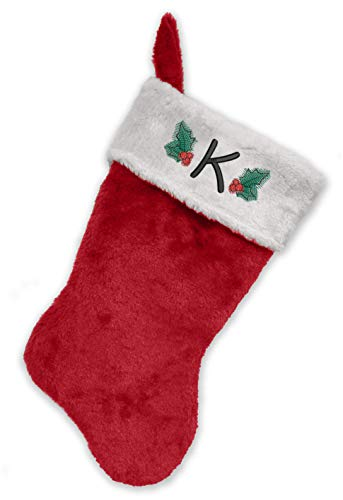 Monogrammed Me Embroidered Initial Christmas Stocking, Red and White Plush, Initial -