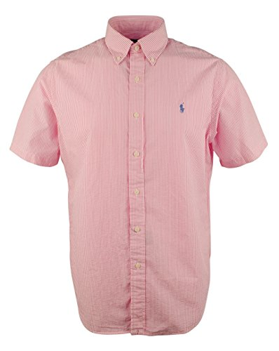 Polo Ralph Lauren Mens Seersucker Short Sleeve Shirt (XL, Bright Pink Stripes) (Ralph Lauren Men Clothing compare prices)