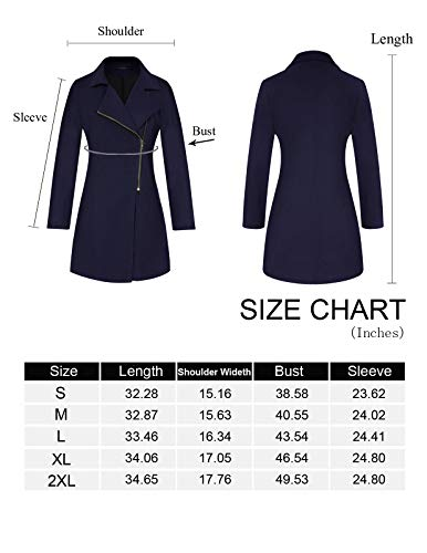 CHICIRIS Womens Fashion Long Sleeve Collared Neck Warm Oblique Zipper Coat with Pockets