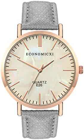 Economicxi Quartz Watch Sleek Minimalist Belt Watch Without Digital Female Quartz Watch(FG)
