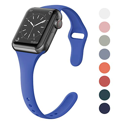 SWEES Sport Silicone Band Compatible Apple Watch 38mm 40mm, Soft Silicone Slim Thin Narrow Small Replacement Strap for iWatch Series 4, Series 3, Series 2, Series 1, Sport & Edition Women, Delft Blue