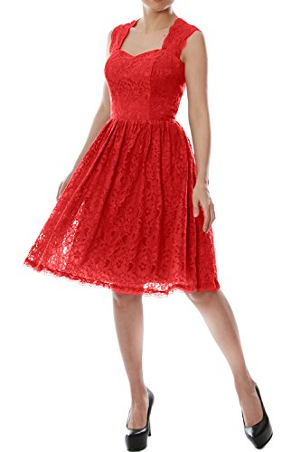 MACloth 2016 Women Straps Lace Short Bridesmaid Dress Cocktail Party Formal Gown Rojo