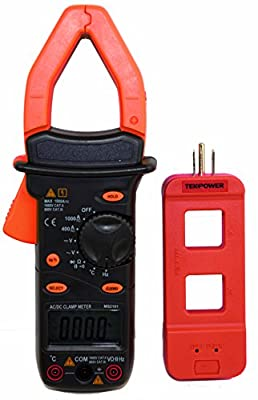 Mastech MS2101+M920 Digital Clamp Multimeter with Tekpower Line Splitter M920, AC/DC Both Current Measres Upto 1,000A, A Clamp on Meter with Frequency & Temperature Measurement