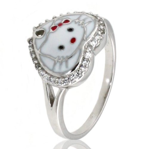Sterling Silver Cubic Zirconia Spade Kitty Ring - Size 4.5