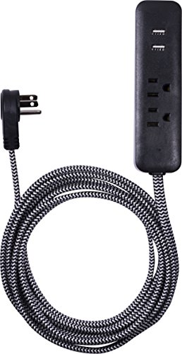 Cordinate Designer Polarized Outlet Extension Cord with Surge Protection Braided Décor Fabric Cord