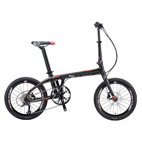 "SAVADECK 20"" Folding Bike Carbon Fiber Frame Mini Compact City Bicycle 9S Disc Brake"