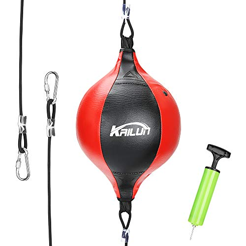 Speed Punch Bag Leather Speed Ball Hanging Boxing Punching Ball, Double End Ball with Boxing Reflex Ball and Pump for…