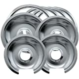 Range Kleen 1056RGE8Z GE Hinged Drip Pans and Trim Rings Containing 3 Units 105A, R6GE and 1 Unit 106A,R8GE, Chrome