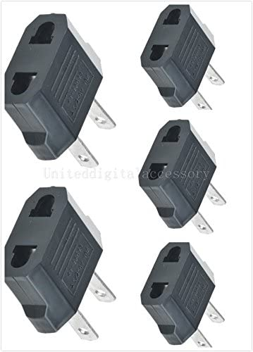 FYL New 5Pcs European Euro EU to US USA Travel Charger Adapter Plug Outlet Converter