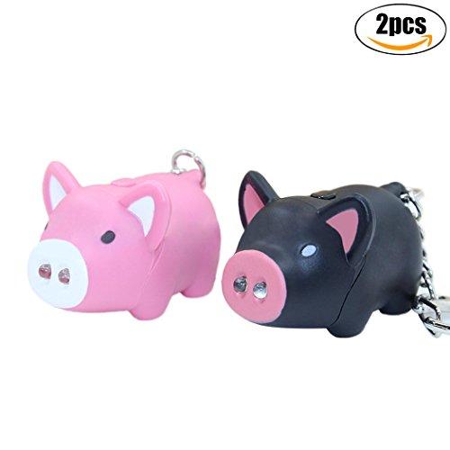 Key Ring Decoration, Fascigirl 2 PCS Cartoon Keychain LED Light Up Squeaky Pig Pendant Keychain Gift