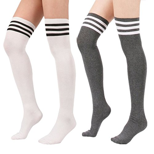 [Zando Women's Cotton Athlete Triple Stripe Tights Over The Knee Thigh High Socks 2Pairs-White/Grey] (Asian Guy Halloween Costume)