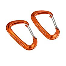 MonkeyJack 2 Pieces/ Set D Shape Wiregate Carabiner Keychain Mountaineering Hammock Hook