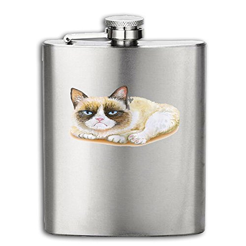 Grumpy Angry Staring Cat Flasks Stainless Steel Liquor Flagon Retro Rum Whiskey Alcohol Pocket Flask Liquor Flagon Retro Rum Whiskey Flask Great Little Gift For Men 6OZ