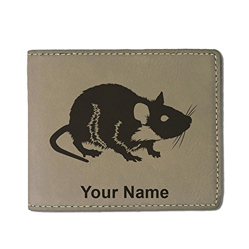 Faux Leather Wallet - Rat - Personalized Engraving Included (Light (Rat Wallet)