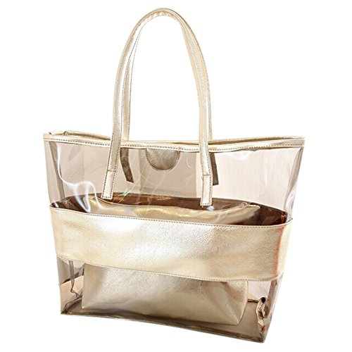 Zicac Waterproof Semi-clear Tote Bags Stripe PVC Shoulder Bag with Pouch (Gold) (Plastic Beach Tote)