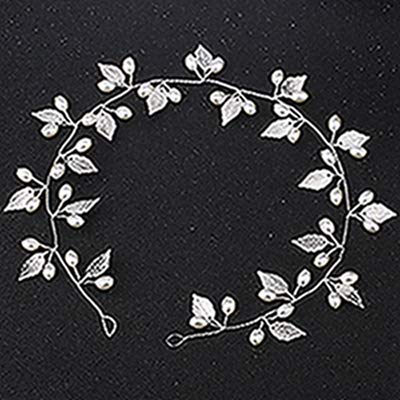 VT BigHome Bride Headband Pearl Leaves Jewelry Women Wedding Hairband Handmade Decoration