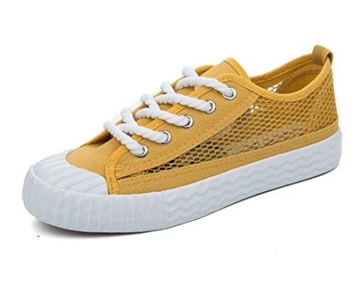 XIE Lady Shoes Permeabilidad Simple Color Sólido Ocio Zapatos de Lona Movimiento Red Estudiantes Escuela de Verano Tres Colores, 35 1003CM0356CM-35
