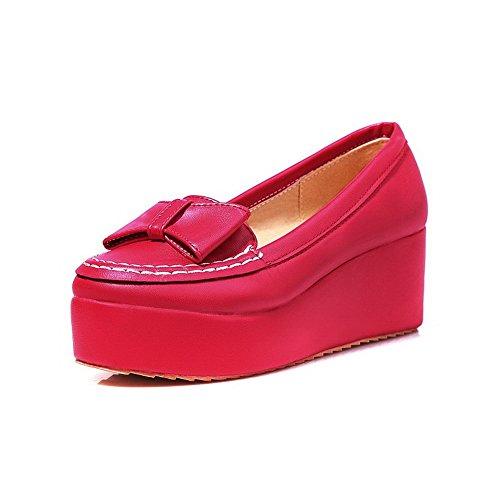 Allhqfashion Femmes Chaton Talons Solide Tirer Sur Des Matériaux Souples Ronds Bout Fermé Pompes-chaussures Rouge