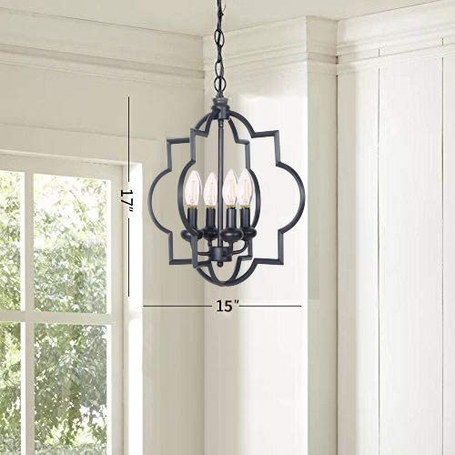 Homenovo Lighting Foyer Lantern 4-Light Chandelier, Industrial Style Lighting for Entryway, Hallway, Dining Room and Living Room – Matte Black Finish