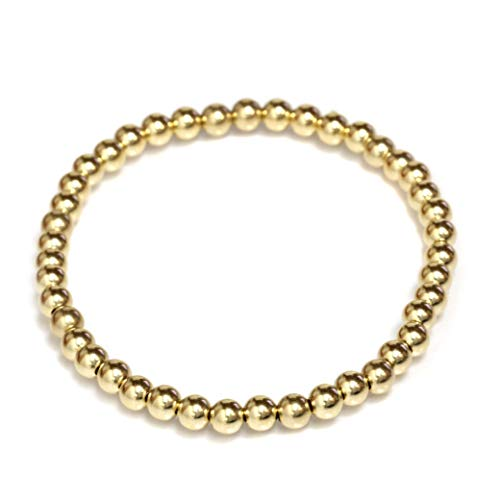 Seven Seas Pearls Beaded Stretch Bracelet 14k Solid Gold Yellow, White and Rose (Yellow-Gold)