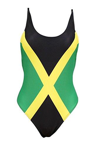 Women's Fashion One Piece Caribbean Jamaica Flag Monokini Swimsuit Swimwear (Medium/8-10)