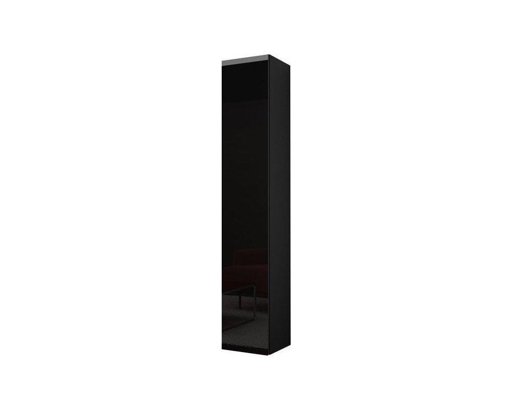 Hängeschrank Hochschrank VIGO in MDF Hochglanz Pusch Click Farbauswahl (schwarz  schwarz hochglanz)