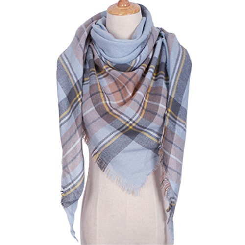 (Chic-Dona Winter Triangle Scarf for Women Shawl Cashmere Plaid Scarves Blanket Triangle 31)