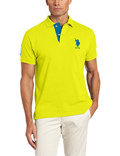 - U.S. Polo Assn. Men's Slim Fit Pique Polo, Sailing Yellow, Large