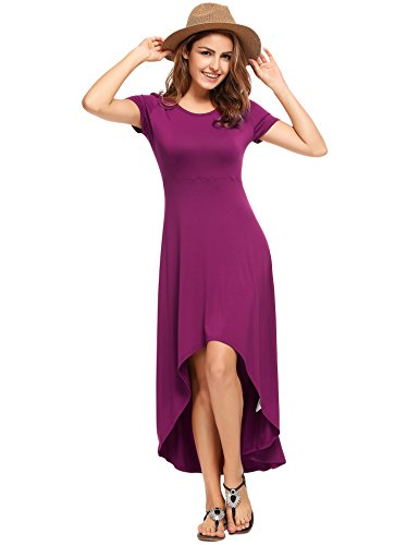 Zeagoo Women's Casual Short Sleeve Fit And Flare Dress High Low Elegant Swing Dresses