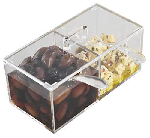 HOME-X Dual Compartment Condiment Holder, Garnish Tray with Lid and Matching Spoons