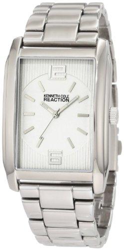 Kenneth Cole Reaction Men's RK5103 White Rectangular Dial Silver Stainless Steel Bracelet - Hand Second For Sunglasses Men