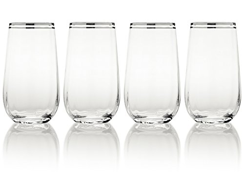 Mikasa Haley Platinum Highball Glass, 20-Ounce, Set of 4