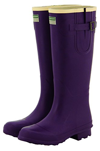 4 Rain Ladies 8 Buckle Wellingtons Aubergine Boots UK Cream Festival Wellies Adjustable Women's Sizes Town Flat Country amp; Wellies EZwqvx6A