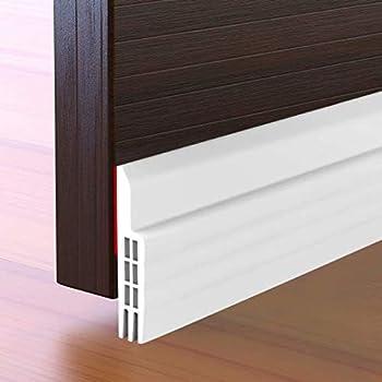 Suptikes Door Draft Stopper Under Door Seal for Exterior/Interior Doors, Door Sweep Strip Under Door Draft Blocker, Soundproof Door Bottom Weather Stripping, 2