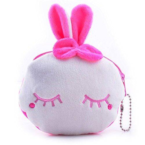 UEETEK Cute Mini Cartoon Purse Plush Coin Bag Zipper Wallet Change Purse Gift Bowknot Rabbit Bowknot Rabbit