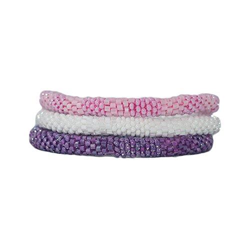 Pink White and Purple Handmade Beaded Bracelets Set, Seed Beads, Nepal