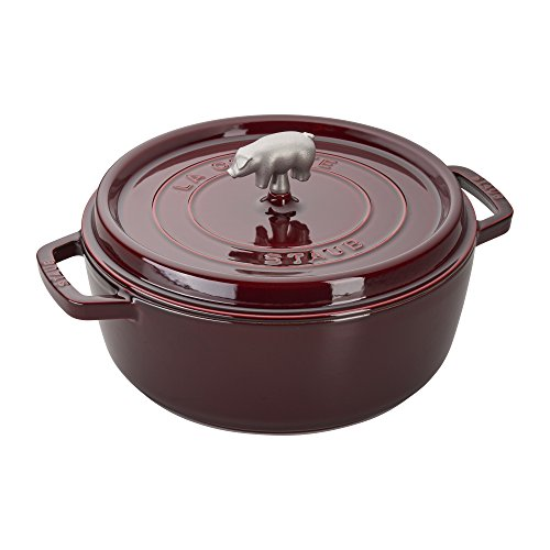 Staub Cast Iron 6-qt Cochon Shallow Wide Round Cocotte - - La Cocotte