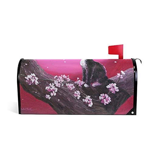 DOPKEEP Sakura Cat Magnetic Mailbox Cover Letter Box Cover Colorful Painting Garden Outdoor Decorations - 20.8x18 Inch Standard Size