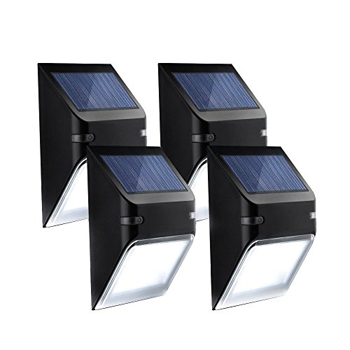Mpow Solar Lights, Wall Lamp Wireless Security Outdoor Lighting for Patio, Deck Yard, Garden, Home Driveway Stairs, Outside Wall, Day/Night Auto On/Off - (No Dim Light Mode), Light Sensor, 4 Pack