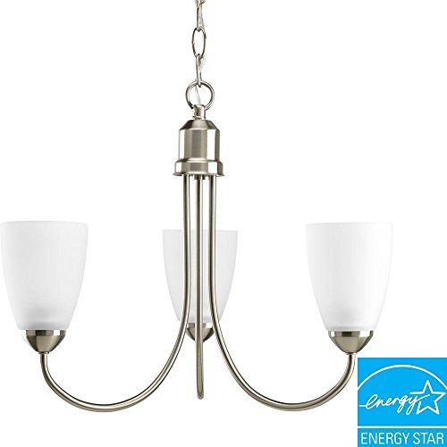 Progress Lighting P4440-09EBWB Gather Collection 3-Light Chandelier, Brushed Nickel (Collection 3 Bulbs)