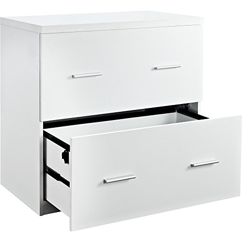 Contemporary Wood White Lateral File, Crisp Clean Design by Altr